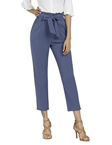 Womens Pleated Pant (Freeprance Women's Pants Casual Trouser Paper Bag Pants Elastic Waist Slim Pockets BLG_XL Blue)