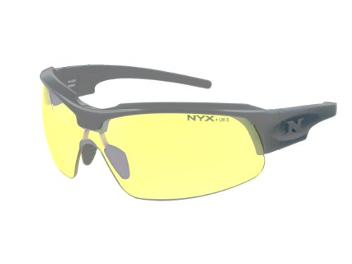 NYX Sport Vision PRO Z-17 Series Sunglass with Z87.1 Safety Rating, Matte-Black Frame/Yellow Luminator Safety Lens, Medium