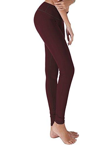 Yoga Reflex - Women's Workout Yoga Leggings Pants - Hidden Pocket, MAROON, 2XL