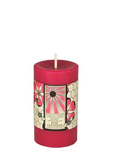 Sunbeam Candles Beeswax Rose Geranium Aromatherapy Pillar - 2