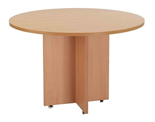 Meeting Table 1100mm Round 1.1m Diameter in Beech Finish with Cruciform Legs Smart Office Furniture Range from Relax Office Furniture
