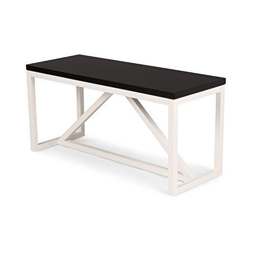 Kate and Laurel Kaya Two-Toned Wood Bench with Black Top and White Base (Black Entry Bench)