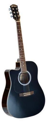 Cutaway Left Handed Black Full Size Dreadnought Acoustic Guitar Ebony - Lefty & DirectlyCheap(TM) Translucent Blue Medium Guitar Pick (ALL-PRO)