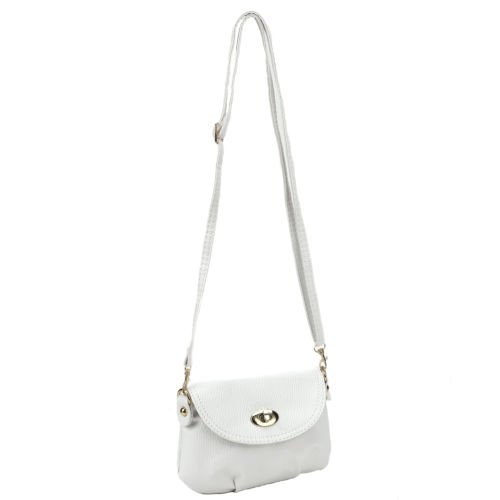 The Pecan Man White Crossbody Shoulder Small Satchel Leather Handbag Messenger Totes ()