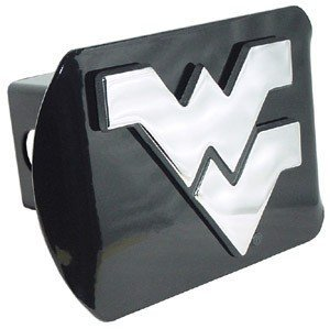West Virginia Mountaineers Black Metal Trailer Hitch Cover with Chrome Metal Logo (For 2