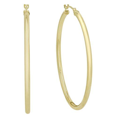 10K Yellow Gold 1 1/2 inch Hoop Earrings