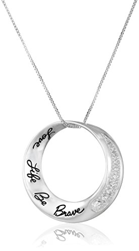 """Sterling Silver Cubic Zirconia Mobius Circle """"Love Life Be Brave"""" Pendant Necklace, 18"""""""