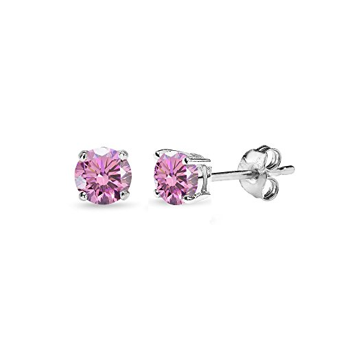 Sterling Silver 4mm Light Rose Stud Earrings Made with Swarovski Crystals (Crystal Earring Stud Pack)