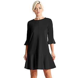 Womens Cocktail Short and 3/4 Sleeve Ruffle Hem Elegant Shift Dress for Women