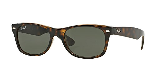 Ray-Ban RB2132 NEW WAYFARER 902/58 55M Tortoise/Crystal Green Polarized Sunglasses For Men For - Small Polarized Sunglass Lens