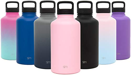 Simple Modern 64 oz Summit Water Bottle – Stainless Steel Half Gallon Flask +2 Lids – Wide Mouth Double Wall Vacuum Insulated Pink Leakproof -Blush