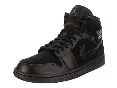Nike Jordan Mens Air Jordan 1 Mid Leather Synthetic Black Dark Grey Trainers 10.5 US