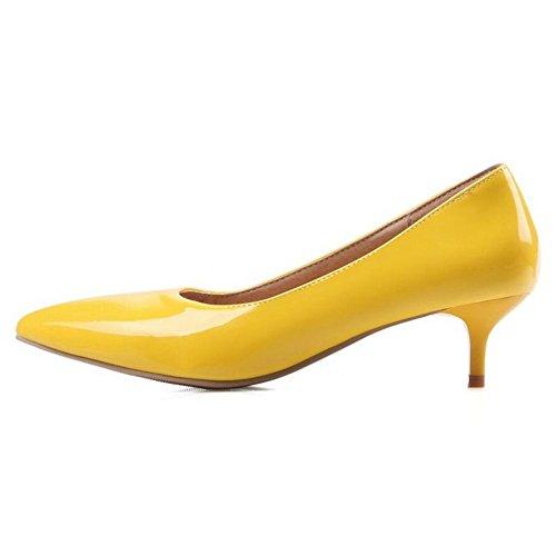 Heel Patent Leather Smilice Women Size Pumps Yellow Plus 5 Kitten on 1 11 Slip US z8qfv8Ax