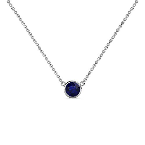 TriJewels Round Blue Sapphire 0.33 ct Bezel Set 4.4mm Womens Solitaire Pendant Necklace 14K Yellow Gold with 16 Inches Gold Chain ()