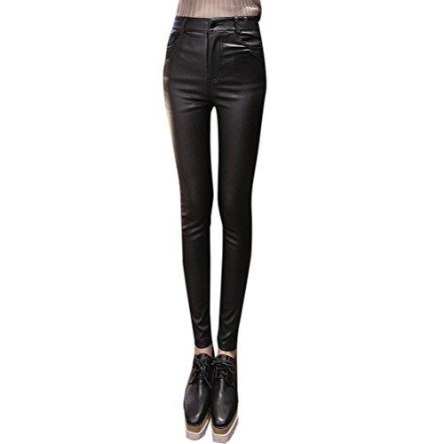 グリルひどく大きいZhhlaixing ファッション レギンス Autumn Winter Plus Velvet Trousers Matte PU Faux Leather Pants Leggings for レディース High Waist