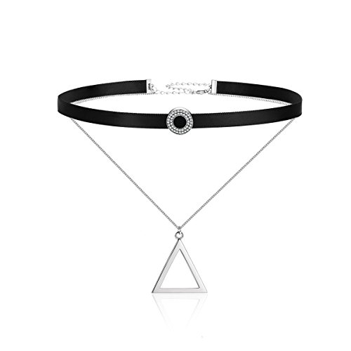 The Kiss Double Layer Silver Braid Triangle Choker 925 Sterling Silver Pendant Necklace 18