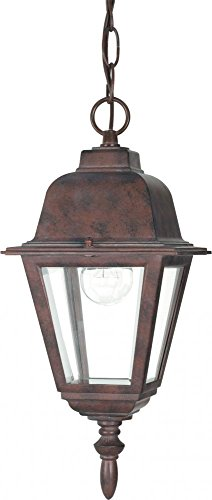 Bronze Hanging Old (Nuvo 60/488 Old Hanging Lantern with Clear Glass, Old Bronze)