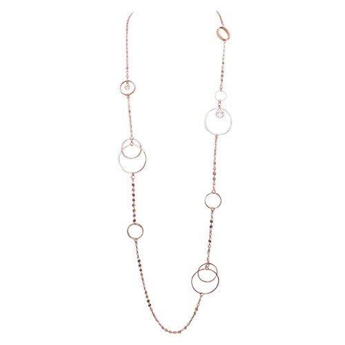 Rosemarie Collections Women's Double Link and Metal Disc with Crystal Dangles Necklace Metal Disk Link