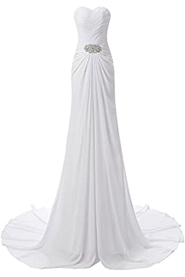 YSFS Women's Sweetheart Chiffon Beach Wedding Dress Bridal Dress Wedding Gown