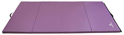 Alpha Mats Tri-Folding Gymnastics and Exercise Mat for Aerobics, Yoga, Martial Arts - 4 x 10 Feet, Purple