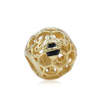 Pukido New 925 Sterling Silver Bead Bee /& Honey Sunshine Crystal Charms Gold Color Pendant Fit Dkg Original Bracelets DIY Jewelry Color: 15