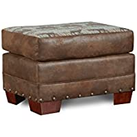 American Furniture Classics B8504-TL-OTTO Lodge Ottoman, Deer Teal Tapestry
