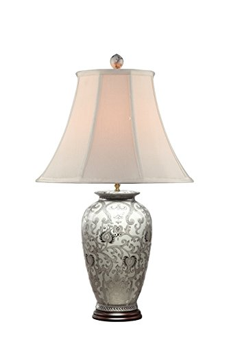 Amita Trading White and Silver Scroll Porcelain Lamp with Shade