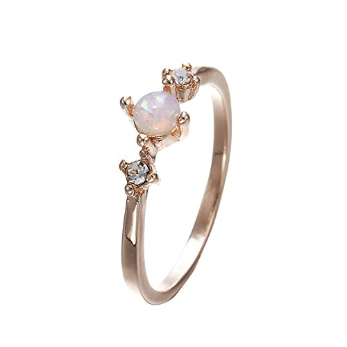 Wintefei Elegant Inlaid Faux Opal Gemstone Finger Ring Wedding Engagement Women Jewelry - Rose Gold US 6