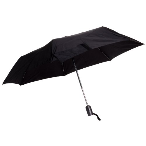 - Totes Auto Open Auto Close Umbrella w/ Grey Handle (Black)