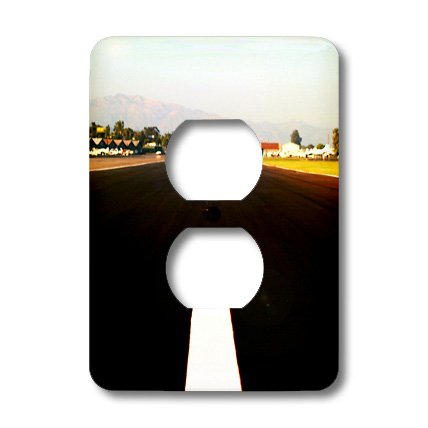 Henrik Lehnerer Designs - Transportation - White middle line of a runway with some mountains in the background. - Light Switch Covers - 2 plug outlet cover (lsp_210682_6)