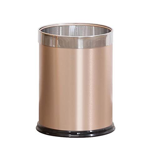Large Trash Can Home Living Room Bedroom Kitchen Without Cover Bathroom Tube Iron Metal Waste Paper Basket,Champagnegold,2428CM ()