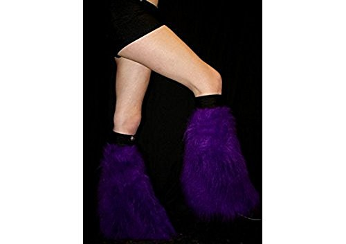 [Purple Fluffy Furry Boot Covers Legwarmer Neon Party Rave Clubwear Dance] (Furry Rave Boots)