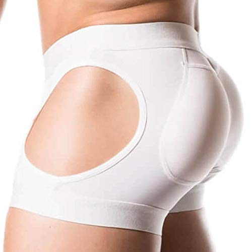 ButtboosterLLC.com Hipster Men's Padded Butt Lifting Spandex Enhancing Underwear (Extra Large, White)