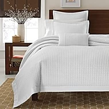 Keeco 3Pc Set 300Tc Real Simple Retreat Duvet Cover 100% Cotton Sateen White Queen