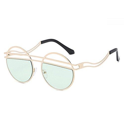 vintage sol sol para Verde femenina mujeres redondas Steampunk de oval de Diseño Hombres Gafas negras Gafas para retro Gafas oscuras damas Moda 5wqT8BO