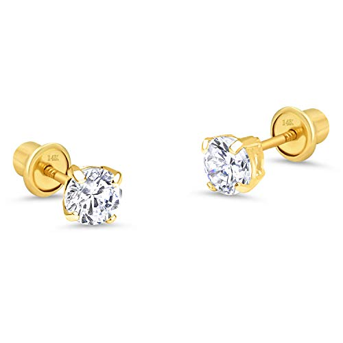 14k Yellow Gold 4mm Basket Round Solitaire Cubic Zirconia Children Screw Back Baby Girls Earrings