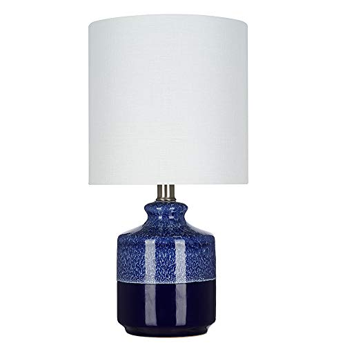 Blue Glaze Ceramic Table Lamp - Catalina Lighting 21558-001 Transitional 2-Tone Textured Ceramic Accent Table Lamp with Linen Shade, LED Bulb Included, 15