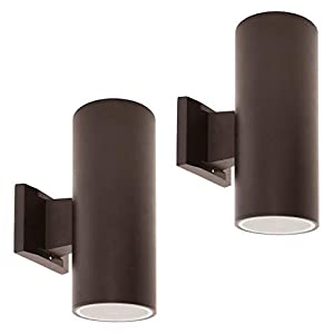 OSTWIN 2-Directions Outdoor Wall Mount Porch & Patio Cylinder Light C01, Modern Up Down Exterior Light Fixtures with Two E26 Base, Waterproof, Bronze Cast Aluminum Housing (2 Pack) ETL Listed