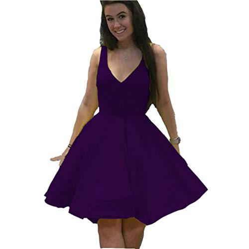 Short Prom Gowns 2019 Satin A-line V Neck Cocktail Homecoming Dresses for Women Grape 16 ()