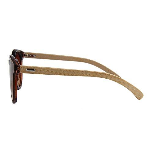 De Style Uso Gububi Hombres Bamboo Simple para múltiples a al Hecho Diario Color Leg Lente Adecuado Cat Eyes UV Protección Fines Mano Aire Gafas Unisex Sol para Marrón de Verde Mujeres Color y de Libre drFYwqr