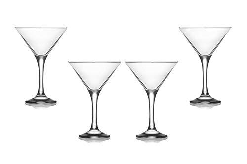 Misket Martini Stemmed Glasses 6 Oz, Modern Crystal Clear Glassware Set of (4)