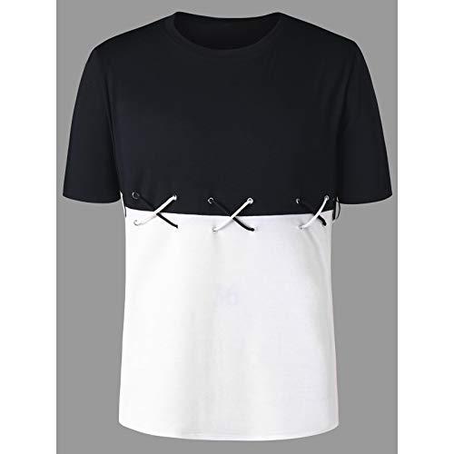 BoyNewYork Mens T Shirts Casual White Black Color Block Lace Up Short Sleeve Tee from BoyNewYork