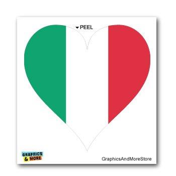 Italy Italian Flag Heart - Window Bumper Laptop Sticker