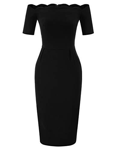(Women's Vintage Off Shoulder Slim Cocktail Pencil Dress Black Size S BP892-1)