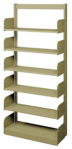 Shelving Face Starter - 36' x 10' x 78' Single Face Starter Flat Library Shelving with 6 Shelves, Ch/Putty