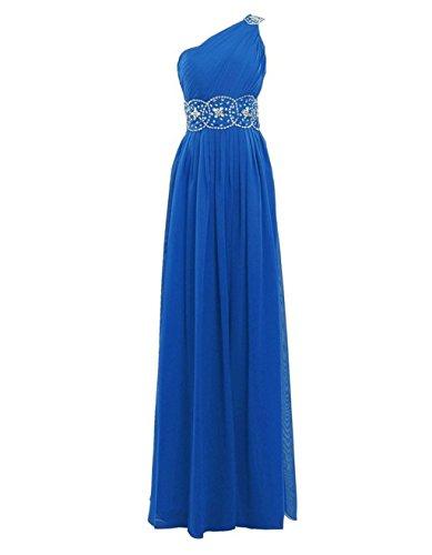 Ballkleider Kleider Purple Brautjungferkleider Shoulder Formelle Beaded Fanciest Blue Damen One Lang Abendkleider gwcp6fYTWf