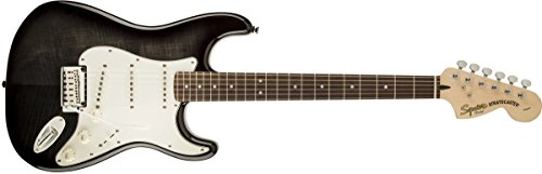 Squier by Fender Standard Stratocaster Electric Guitar FMT - Ebony Transparent - Rosewood Fingerboard