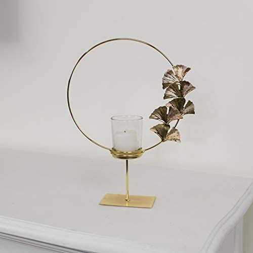 Melody Maison Round Gold Lotus Flower Candle Holder
