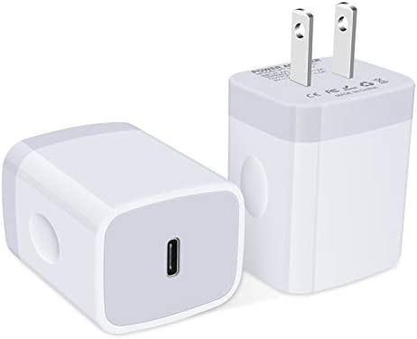 USB C Wall Charger, 2Pack 18W 3.0 Fast PD Charger Plug Power Delivery Adapter Type C Charging Block Compatible with iPhone 11/11 Pro Max/SE, Samsung Galaxy Note 20 Ultra S20 S10 Plus, Pixel 4XL 3XL