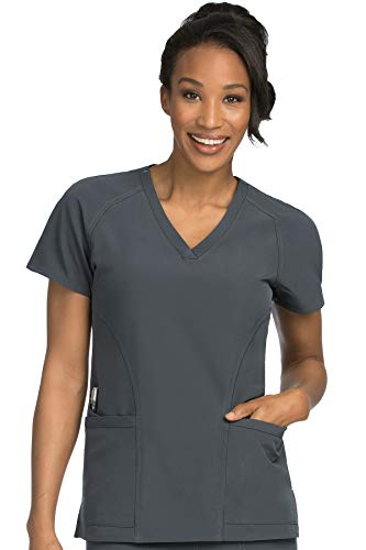 Med Couture Women's 'Air Collection' Raglan Sleeve Spirit Scrub Top, Pewter/Aruba Blue, - Pewter Air